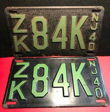 Vtg Metal ZK84KNJ40 Automobile/Automotive License Plates Black/Green Set