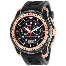 Invicta Men's Watch Hydromax Chronograph Black and RG Bezel Silicone Strap 29574