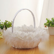 White Basket Romantic Bowknot Silk Cloth Wedding Ceremony Party Rose Flower Girl