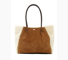 NEW UGG Heritage Chestnut Suede Genuine Ivory Lambs Wool Handbag Tote Purse