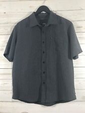Rip Curl Mens Short Sleeve Button Front Striped Shirt Gray Size Small