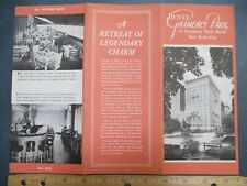 1940s? Gramercy Park Hotel New York City NYC Brochure w/ Mini Map Manhattan