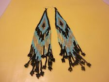 925 Sterling Silver Ethnic Large EARRINGS W/Metallic Blue Color Seed Beads  #55A