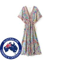 Boho Floral Peacock Print, Bat Sleeve, Tassels, Deep V-Neck Long Maxi Dress