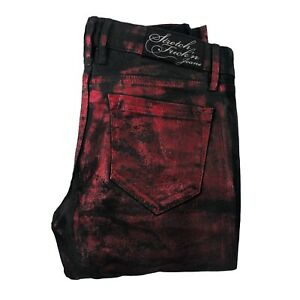 Lip Service Black Red Metallic Stretch F*****N Jeans Size 27 Punk/Fetish/Goth