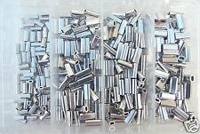 Aluminum Mini Sleeve Crimps Kit 100 each .8mm,1.0mm,1.1mm,1.3mm 50-120lb mono