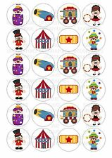 24 Circus Wafer / Rice Paper Cupcake Topper Edible Fairy Cake Bun Toppers