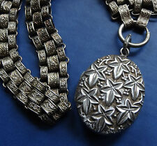 antique Victorian SILVER ornate book chain ivy photo locket collar necklace C587