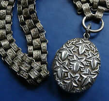antique Victorian SILVER ornate book chain ivy photo locket collar necklace C587