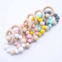 Baby Teething Chew Silicone Beads Teether Wooden Ring Bracelet Parm Rattles Toys