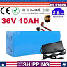 36V 10Ah Lithium li-ion Battery 500W ebike Bicycle E Bike Electric Charger USA