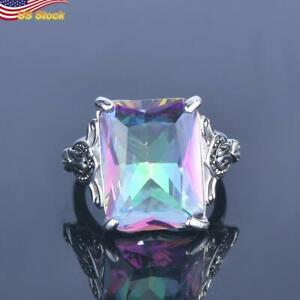 Blazing Square Cut Sapphire Topaz Party Cocktail Ring Women 925 Silver Plated