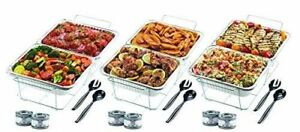 Disposable Food Warmer Kit Full Size Chafing Dishes Wire Stand Pans 6 Sternos