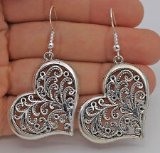 "925 Silver Plated Hook - 2.2"" Hollow Love Heart Plants Retro Party Earrings #61"