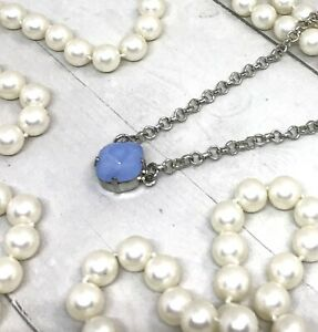 Vintage Style Air Blue Opal Pendant Necklace Made with Blue Swarovski Crystals