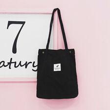 Korean Simple Women Shoulder Bag Corduroy Tote Foldable Reusable Shopping Bag