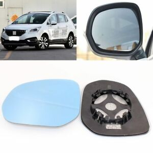 For Peugeot 3008 2013-2018 Side View Door Mirror Blue Glass With Base Heated