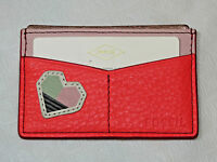 Fossil SL7425281 Card Case Stkrs Neon Coral Leather mini ID card holder NWT^^