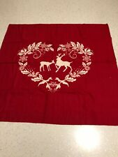 Stag Deer red wine white 100% cotton flannelette remnant craft material fabric