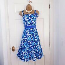Per UNA M&S Vestido Talla 16 - 18 Azul Blanco Algodón Floral Fit Flare De Boda Verano