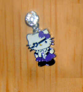 hello kitty purple pirate cell phone plug charm anti-dust