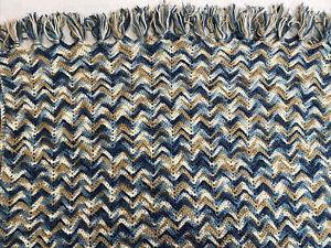 Afgan Hand Crochet Blanket Throw Bed Cover Blues Cream Tan