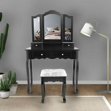 Jaxpety Black Vanity Makeup Dressing Table Stool Set Tri Folding Mirror Home Fur