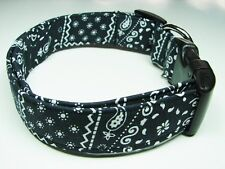 Charming Black White Adjustable Standard Bandana Dog Collar **SEE SIZES BELOW**