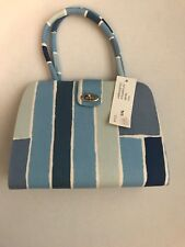 Vintage MARGARET SMITH Handcrafted Blue Striped Fabric Toggle EVE Satchel Purse