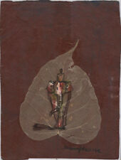Original Ink and Oil with Bodhi Leaf   Elephant         Vientiane Laos      BL34