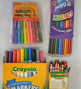 New Pks Coloring Lot Crayola Markers 10 Broad 10 Fine, 24 Crayons 12 Col Pencils