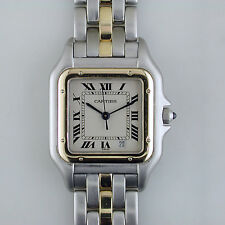 Cartier Tank Panthere Women's Two-tone Steel Yellow Gold Watch 27mm 1120