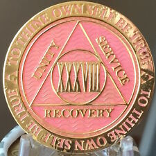 38 Year AA Medallion Pink Gold Plated Alcoholics Anonymous Sobriety Chip Coin