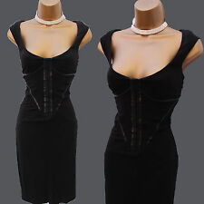 KAREN MILLEN Black Jersey Faux Leather Corset Cocktail Wiggle Bardot Dress 10 UK