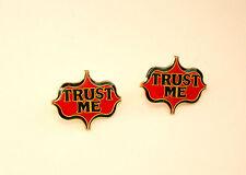 Vintage Trust Me Campy Humor Catch Phrase 1970s Hat Lapel Pin New NOS