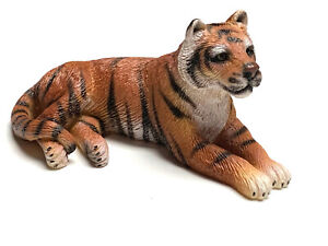 Tiger Lying Down Mini Figurine Statue Hand Painted Resin Living Stone 2 inches