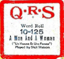 QRS Word Roll A MAN AND A WOMAN un homme et une femme 10-125 Player Piano Roll