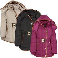 Kids Padded Jacket Girls Quilted Detach Hood Faux Fur Lining Zip Coat 3-14 Y