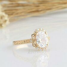 Solid 14k Yellow Gold 2.25 Ct Near White Oval Moissanite Engagement Party Ring