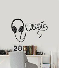Vinyl Wall Decal Music Notes Pop Rock Headphones Teen Room Stickers (g2115)