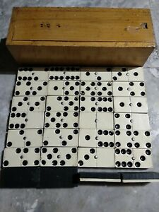 Vintage Dominoes Set  28 Ivory Coloured Front & Black Wooden Backs in Wooden Box