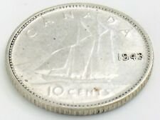 1943 Canada Ten 10 Cents Silver Dime Canadian George VI Circulated Coin J951