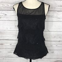 WHBM Womens SZ 0 Top Sleeveless Lace Accent Embellished Sleeveless Mesh Black