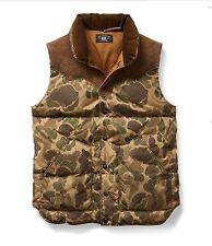 $590 RRL Ralph Lauren Italian Suede American Down Camo Vest Jacket-MEN- XXL