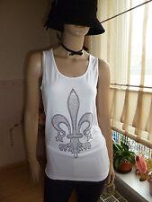 Damen Partytop Basic Shirt m Glamourous Glitzersteinchen in Weiß Gr.M/38-40 NEU*