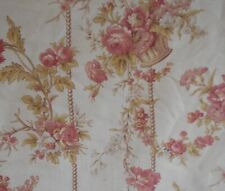 Antique French Floral Basket Pearl Cotton Fabric ~Blush Rose Apricot Peach Olive