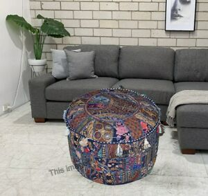 Indian Cotton Vintage Ottoman Pouf Cover Handmade Patchwork Round Foot Stool