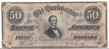 1864 CSA Currency - Confederate States Jefferson Davis, $50 - VF/XF Circulated*