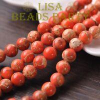 100pcs 4mm Round Natural Stone Loose Gemstone Beads Orange Imperial Jasper