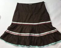 American Eagle A Line Skirt Sz 4 Brown Red Blue White Ruffled Cotton